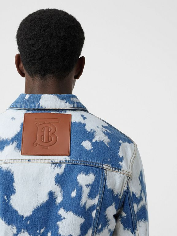 Monogram Motif Bleached Denim Jacket in Light Indigo - Men | Burberry - cell image 1