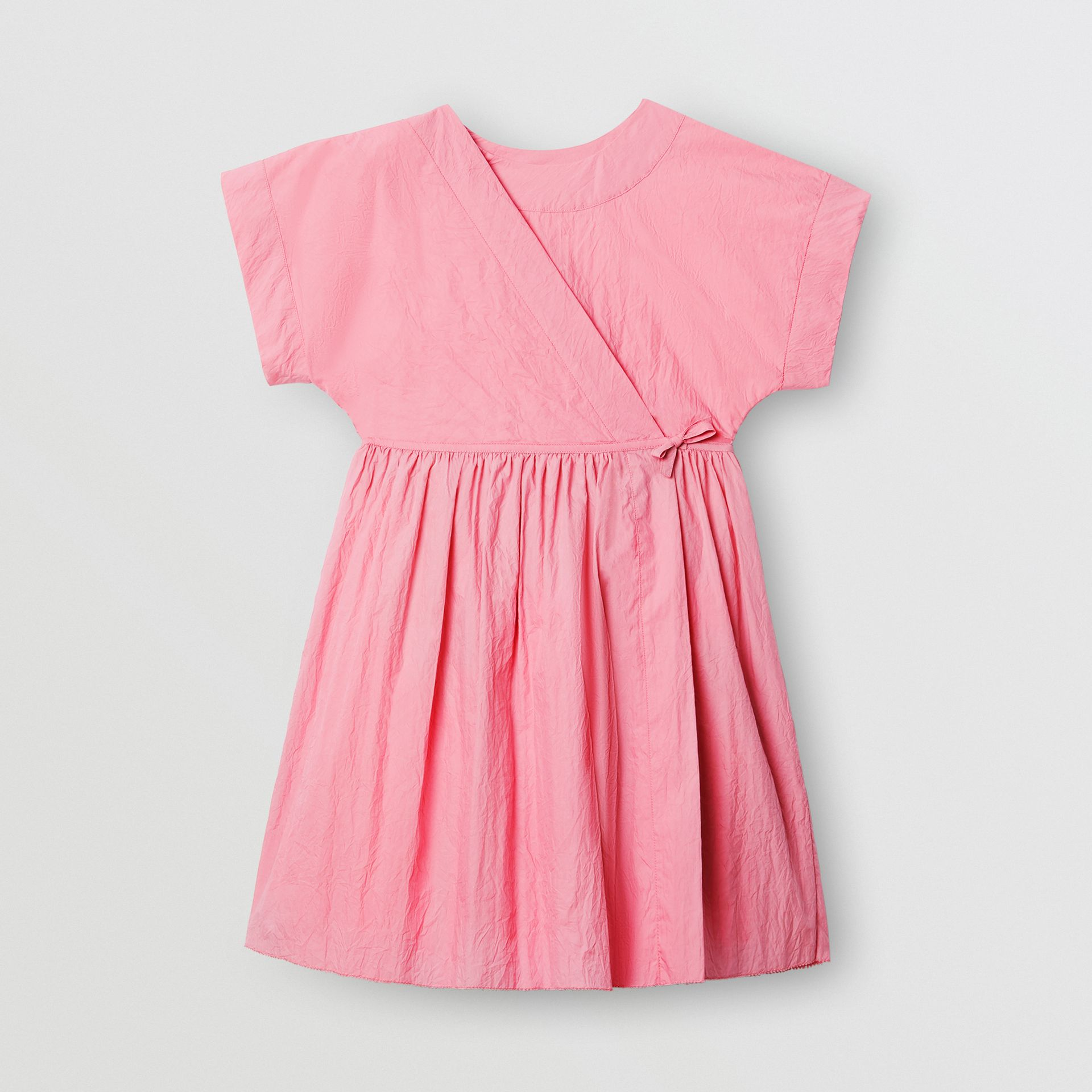 Cotton Blend Wrap Dress in Bright Rose | Burberry Australia - gallery image 0