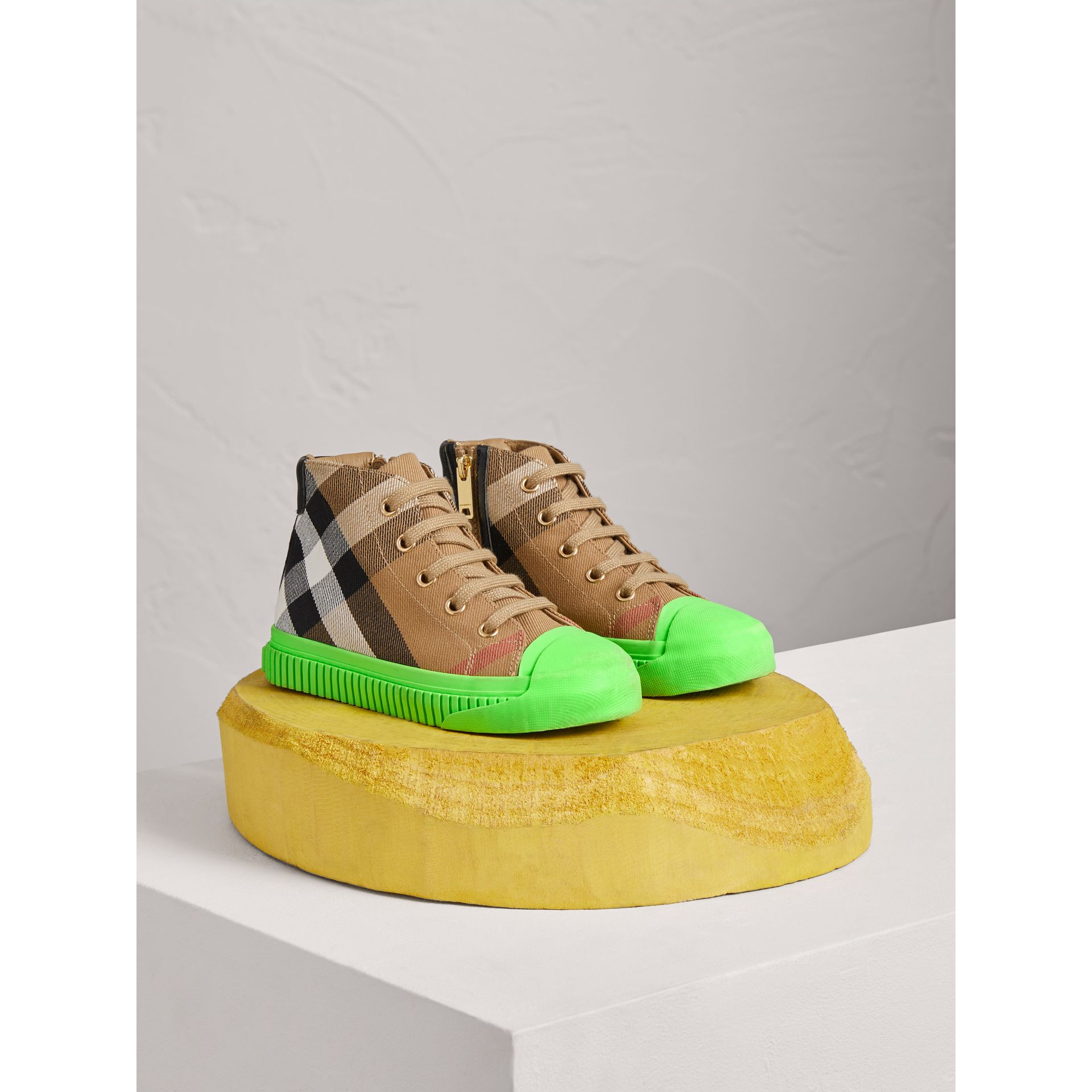 House Check and Leather High-top Sneakers in Classic/neon Green | Burberry - gallery image 0