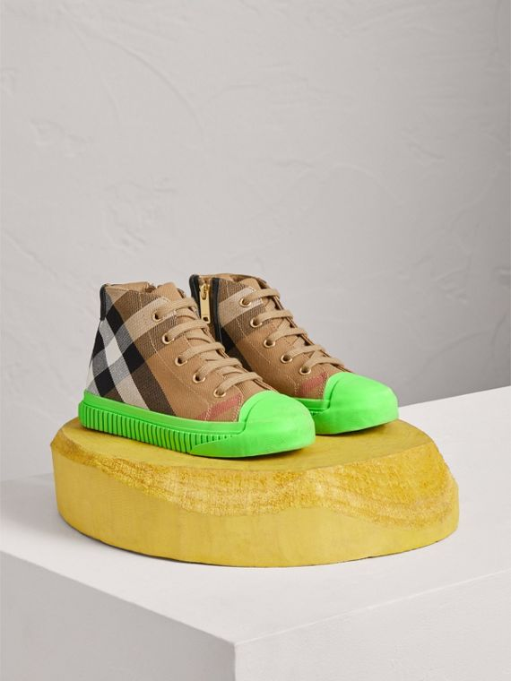 House Check and Leather High-top Sneakers in Classic/neon Green