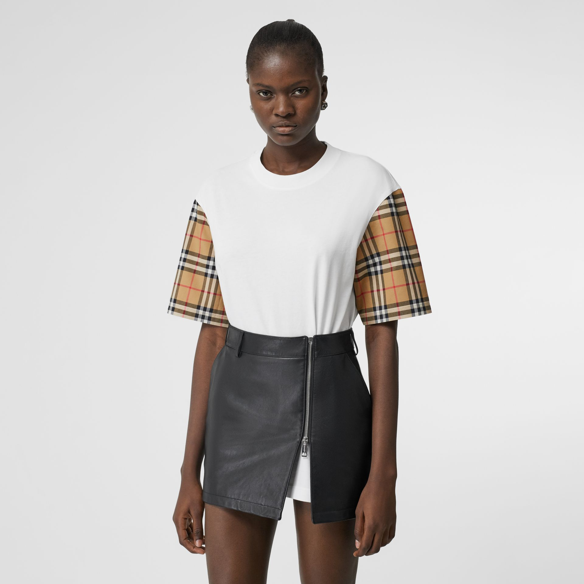 Vintage Check Detail Cotton T-shirt in White - Women | Burberry - gallery image 4