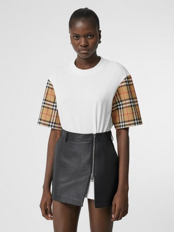 T-shirt en coton avec Vintage check (Blanc)