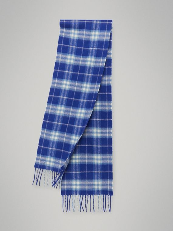 The Mini Classic Vintage Check Cashmere Scarf in Bright Lapis
