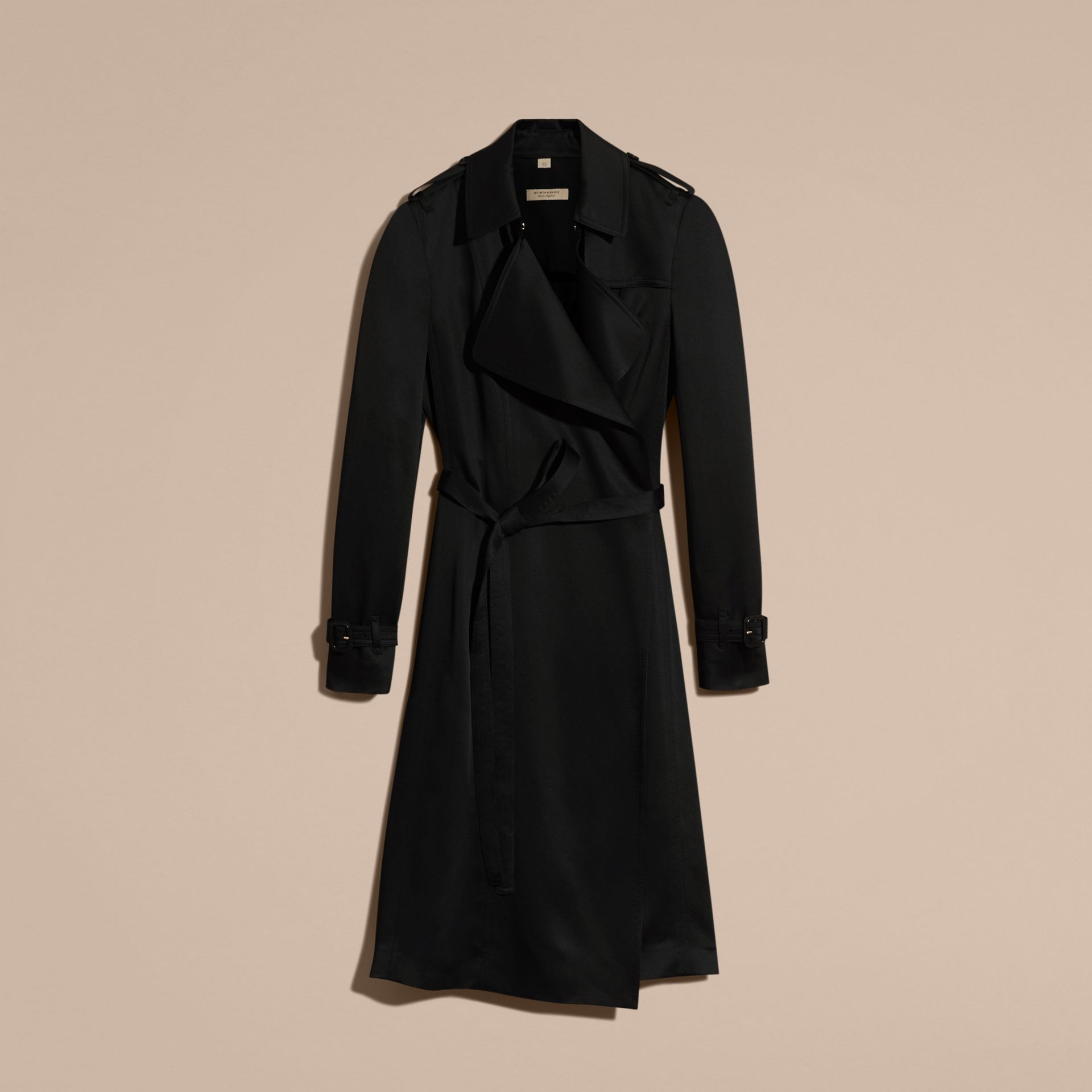 Black Silk Satin Wrap Trench Dress - gallery image 4