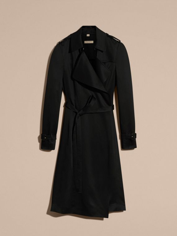 Black Silk Satin Wrap Trench Dress - cell image 3