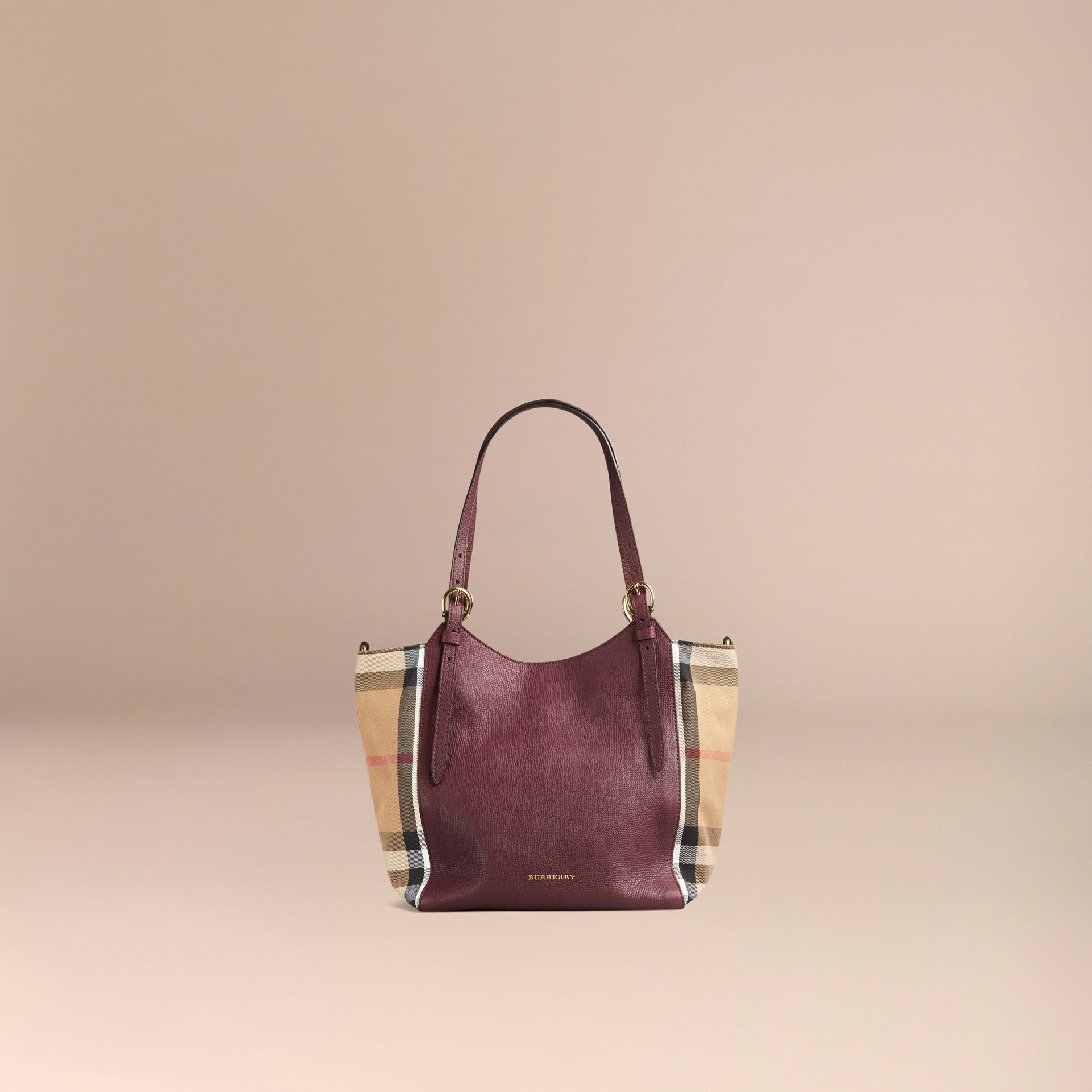 Rouge acajou Petit sac The Canter en cuir avec motif House check Rouge Acajou - photo de la galerie 7