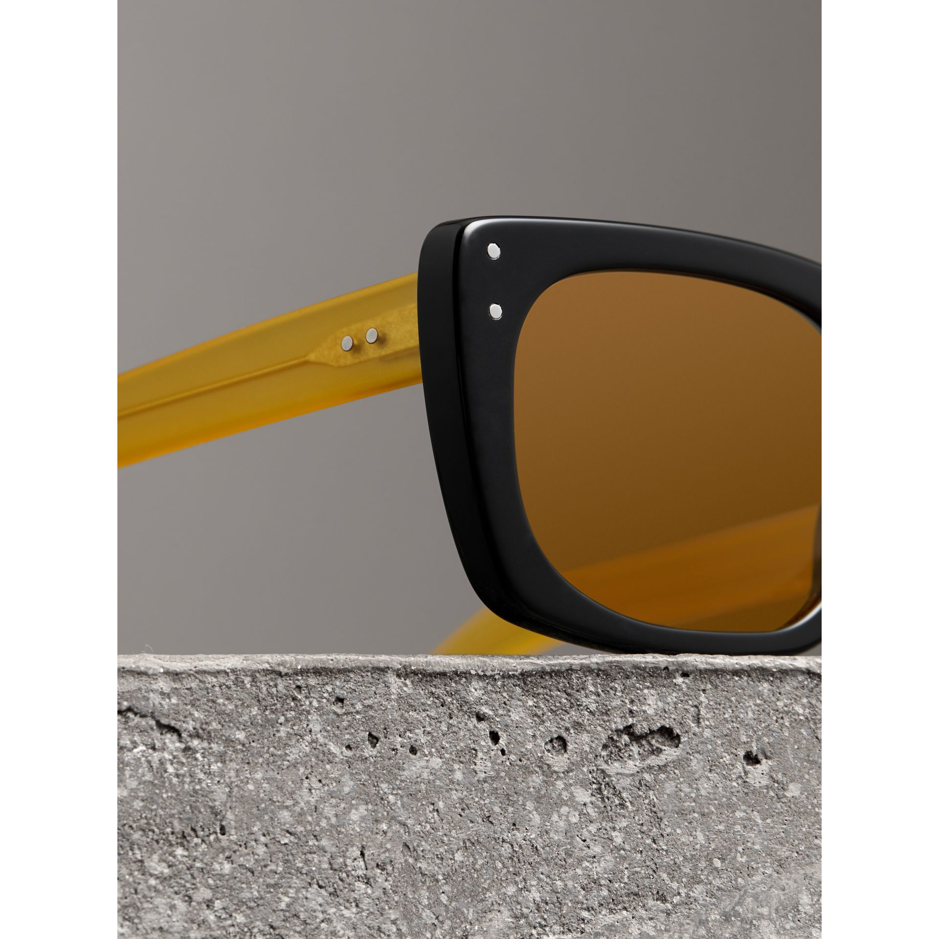Square Frame Sunglasses in Black - Women | Burberry - gallery image 1