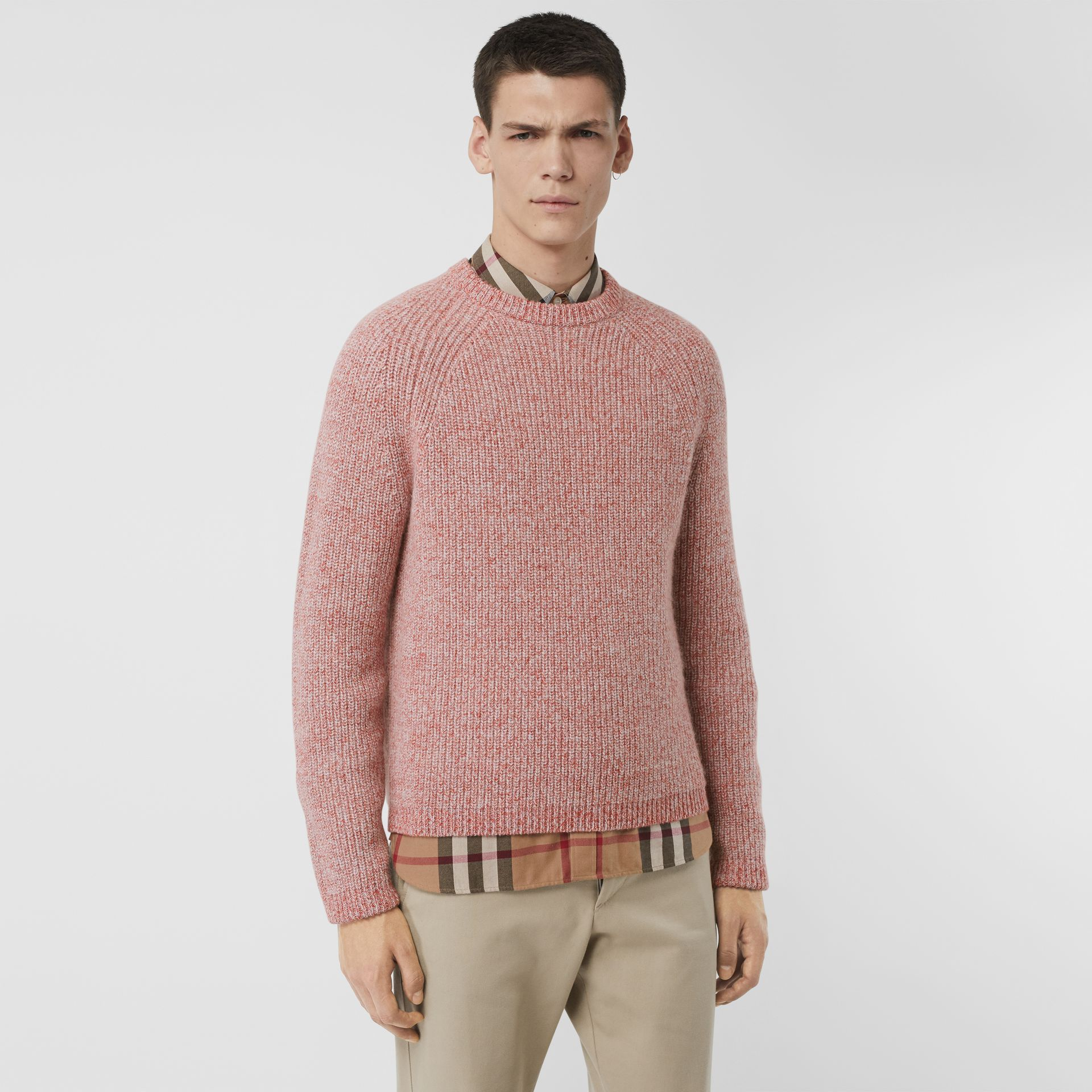 Rib Knit Cashmere Cotton Blend Sweater in Apricot Pink - Men | Burberry - gallery image 0