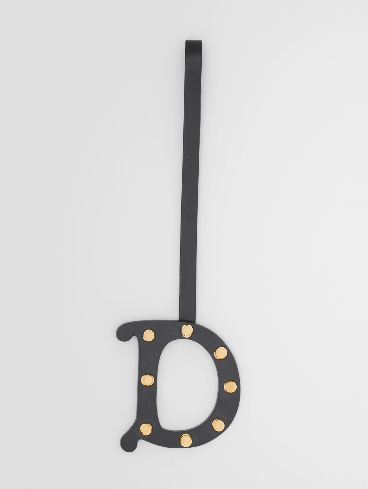 'D' Studded Leather Alphabet Charm in Black/light Gold