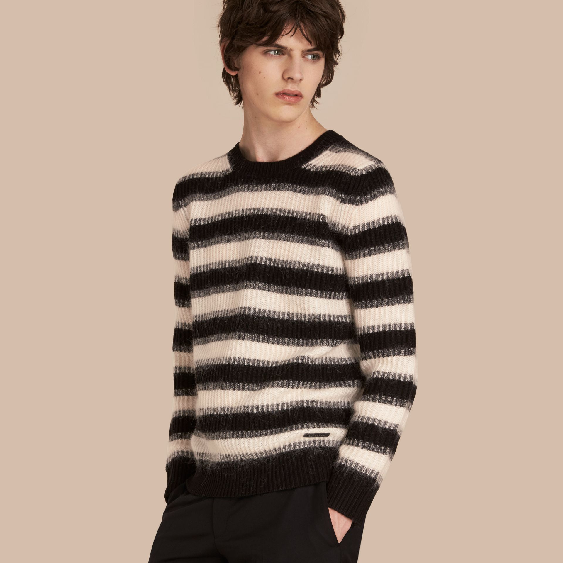 Natural white/black Striped Ribbed Wool Mohair Blend Sweater - gallery image 1
