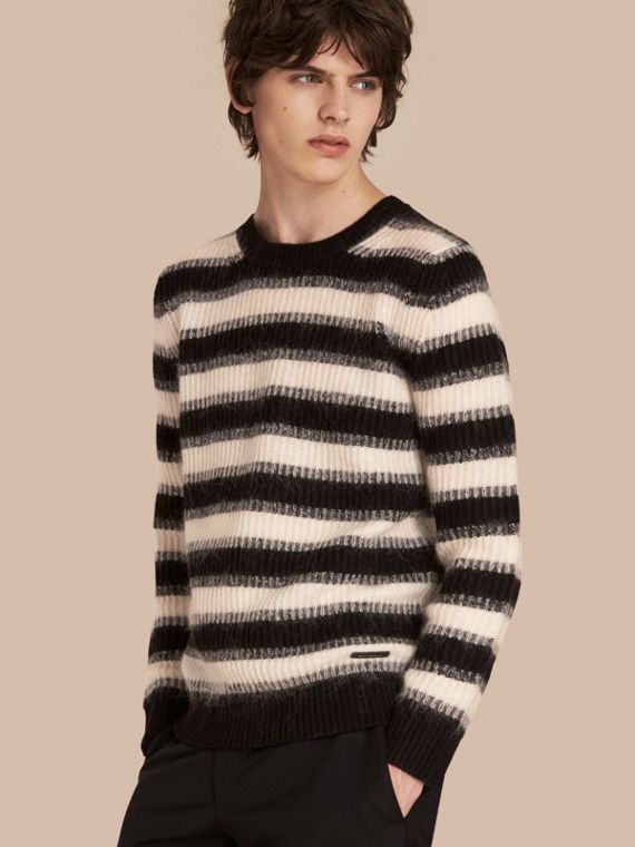 Striped Ribbed Wool Mohair Blend Sweater