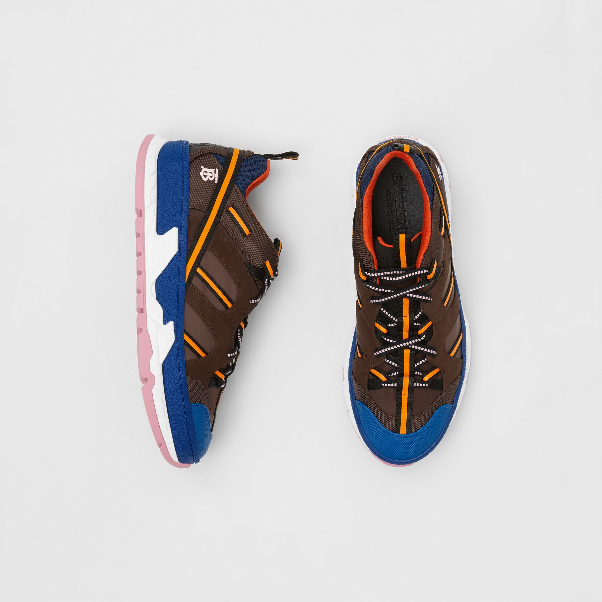 Nylon and Mesh Union Sneakers in Coffee/blue - Men | Burberry Singapore - gallery image 0