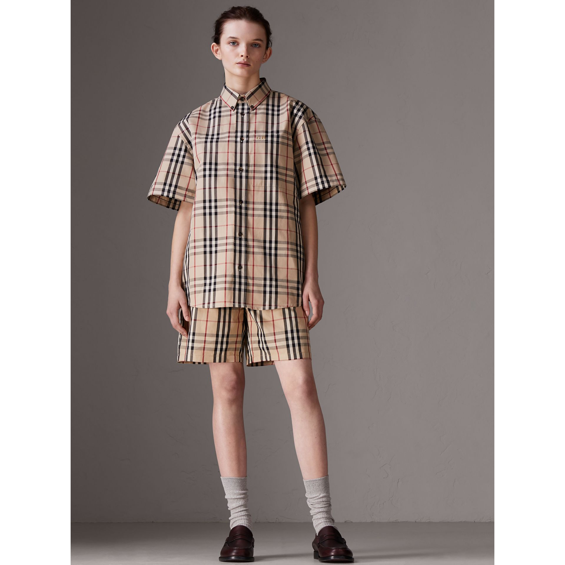 Gosha x Burberry Short-sleeve Check Shirt in Honey | Burberry Australia - gallery image 3