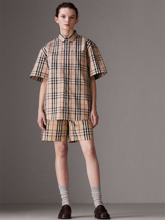 Gosha x Burberry Short-sleeve Check Shirt in Honey | Burberry Singapore - cell image 3