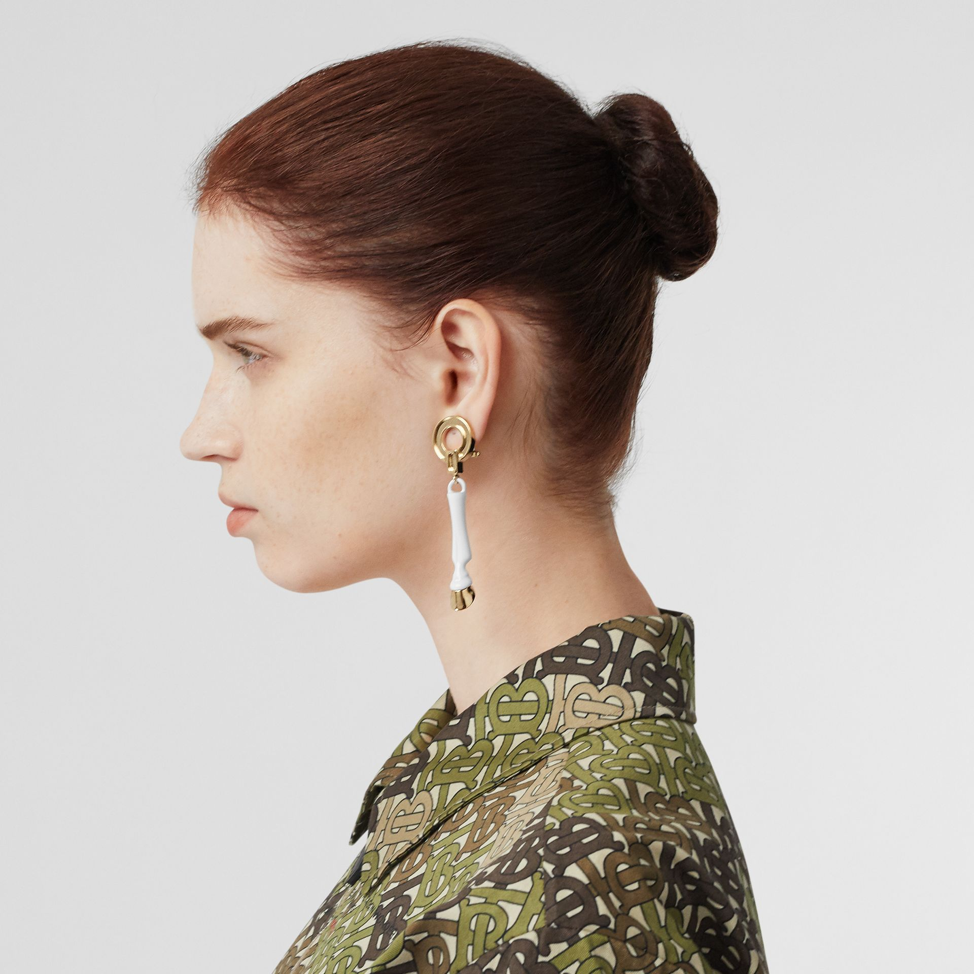 Resin and Gold-plated Hoof Drop Earrings in White/light - Women | Burberry - gallery image 2