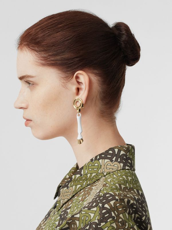 Resin and Gold-plated Hoof Drop Earrings in White/light - Women | Burberry - cell image 2