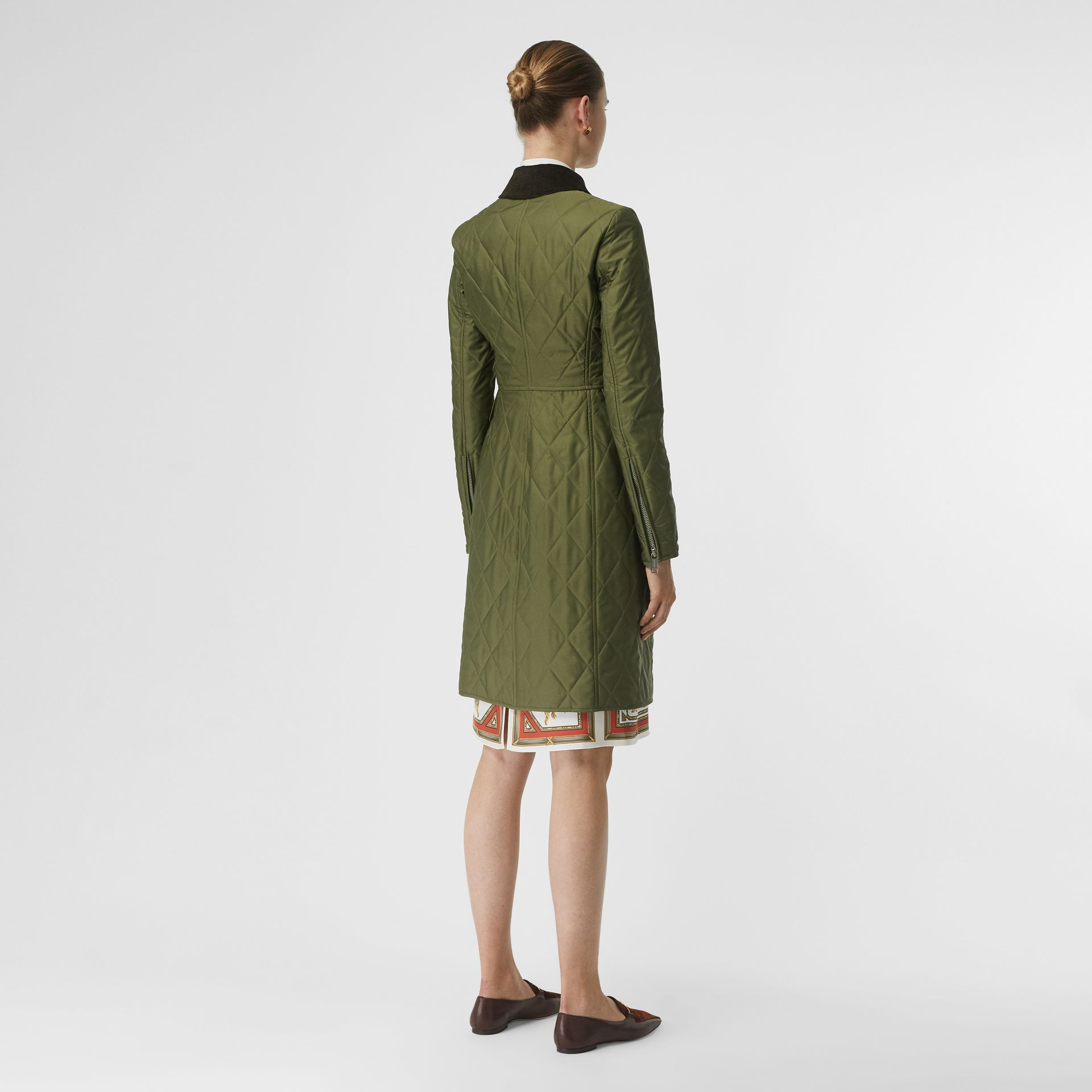 Monogram Motif Quilted Riding Coat in Utility Green - Women | Burberry - gallery image 2