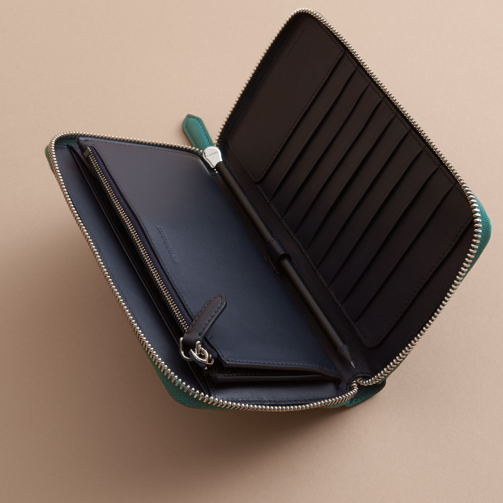 London Leather Ziparound Wallet in Dark Teal | Burberry - gallery image 5