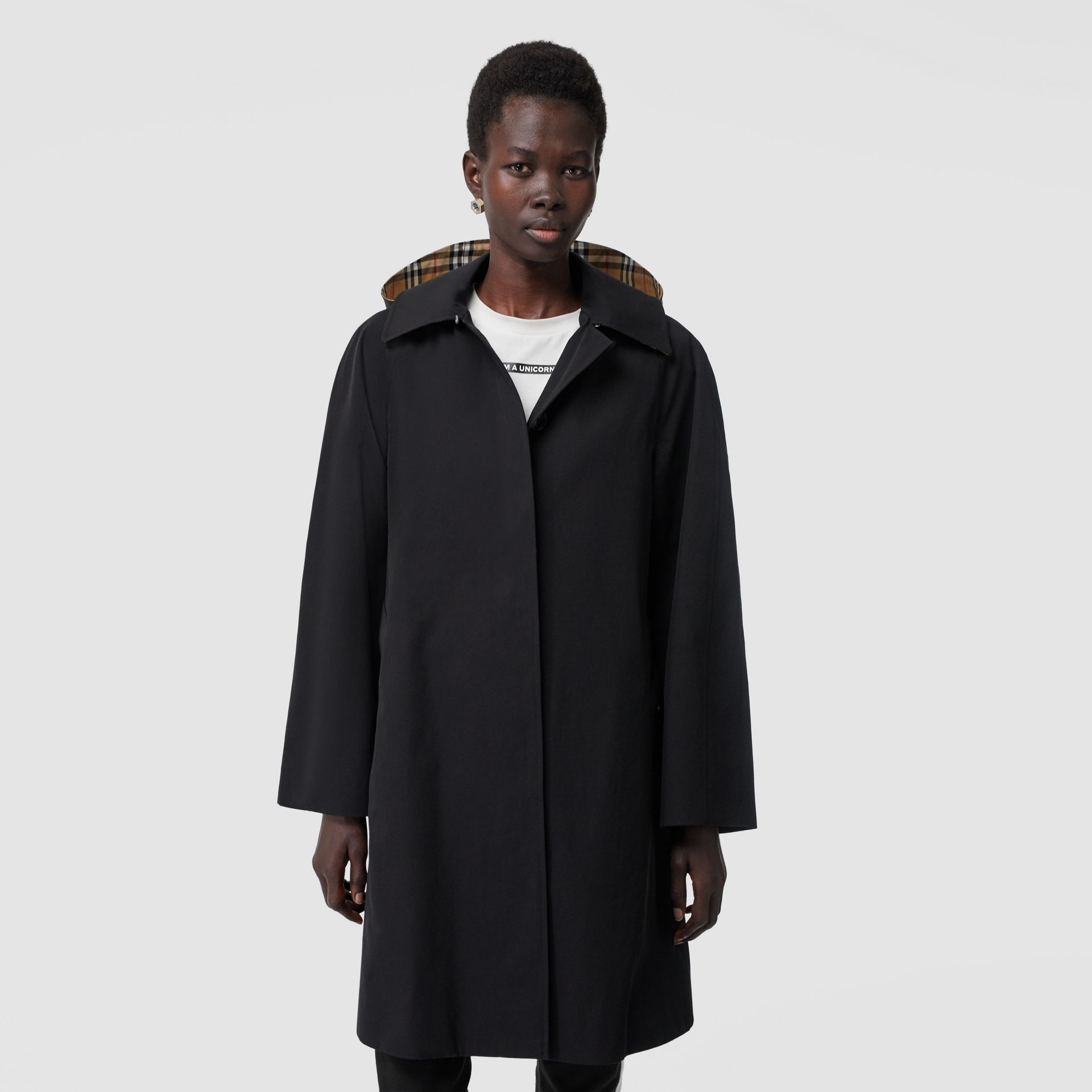 Detachable Hood Tropical Gabardine Swing Coat in Black - Women | Burberry Australia - gallery image 5