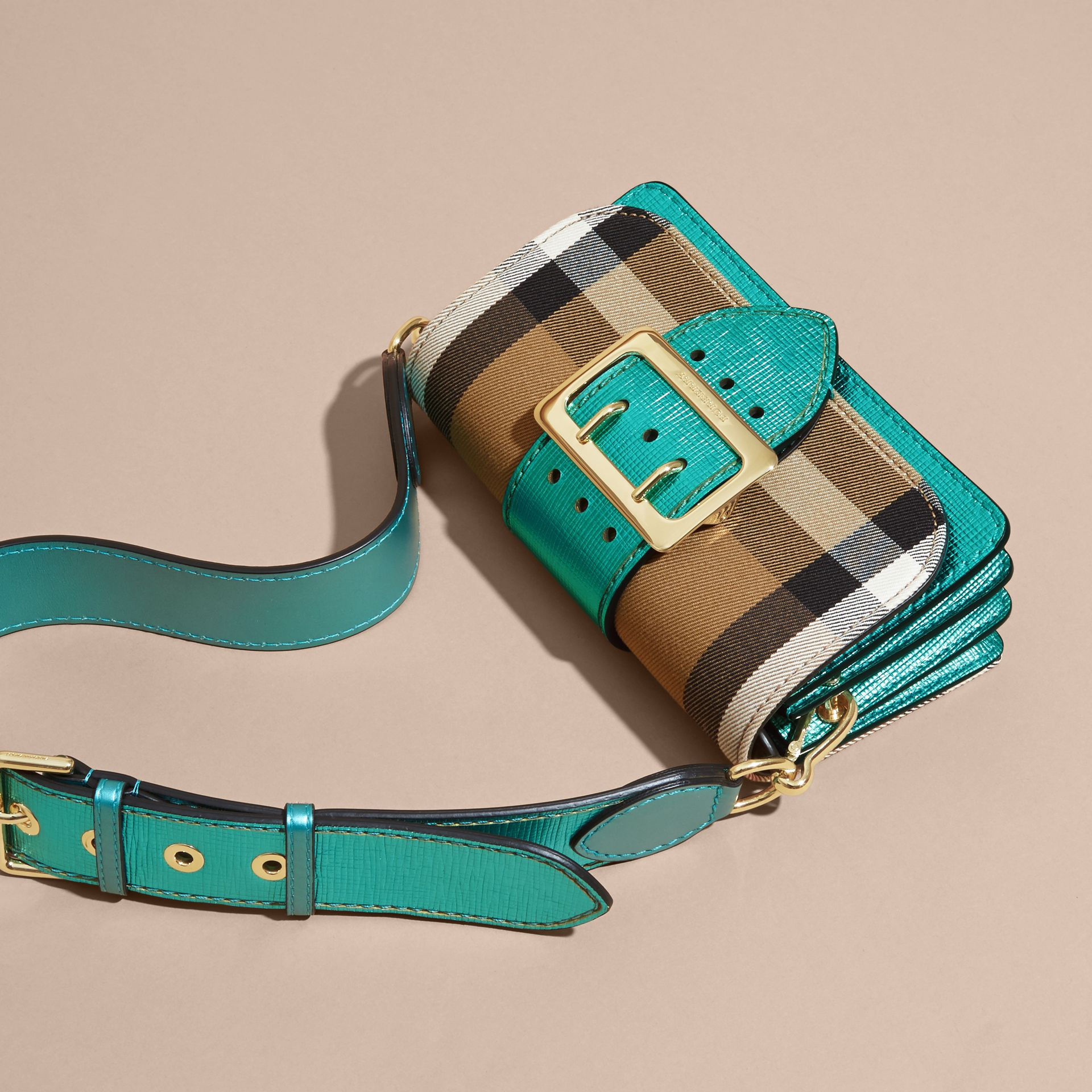 The Small Buckle Bag in House Check and Leather Emerald - gallery image 8