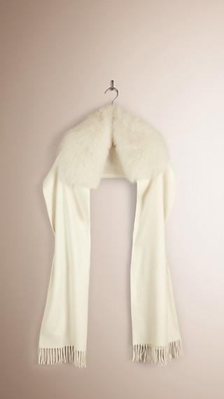 Sciarpa in cashmere con finiture in pelliccia