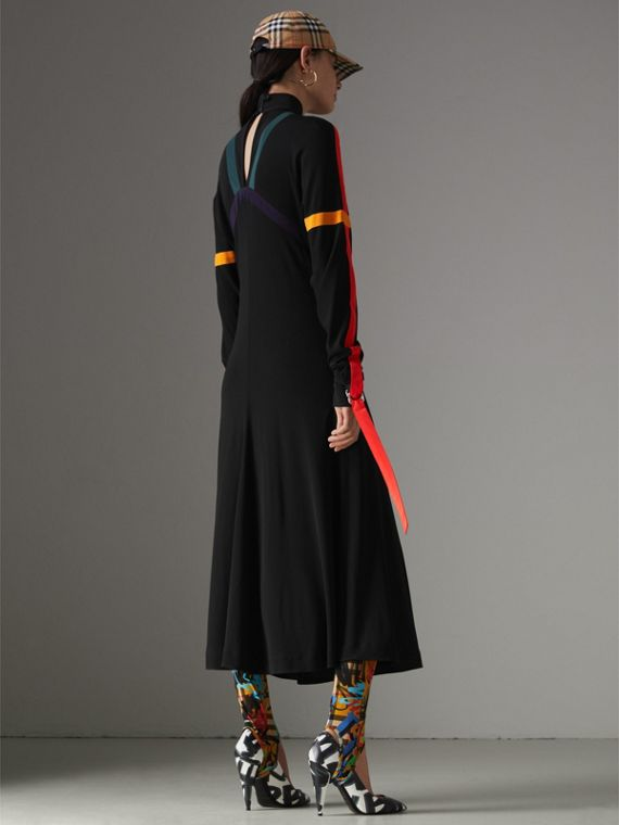 Colour Block Detail Jersey Turtleneck Dress in Black - Women | Burberry United States - cell image 2