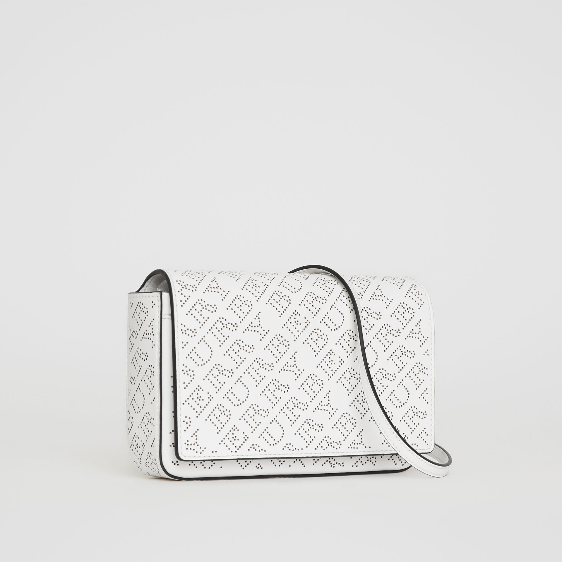 Perforated Logo Leather Wallet with Detachable Strap in White - Women | Burberry - gallery image 6