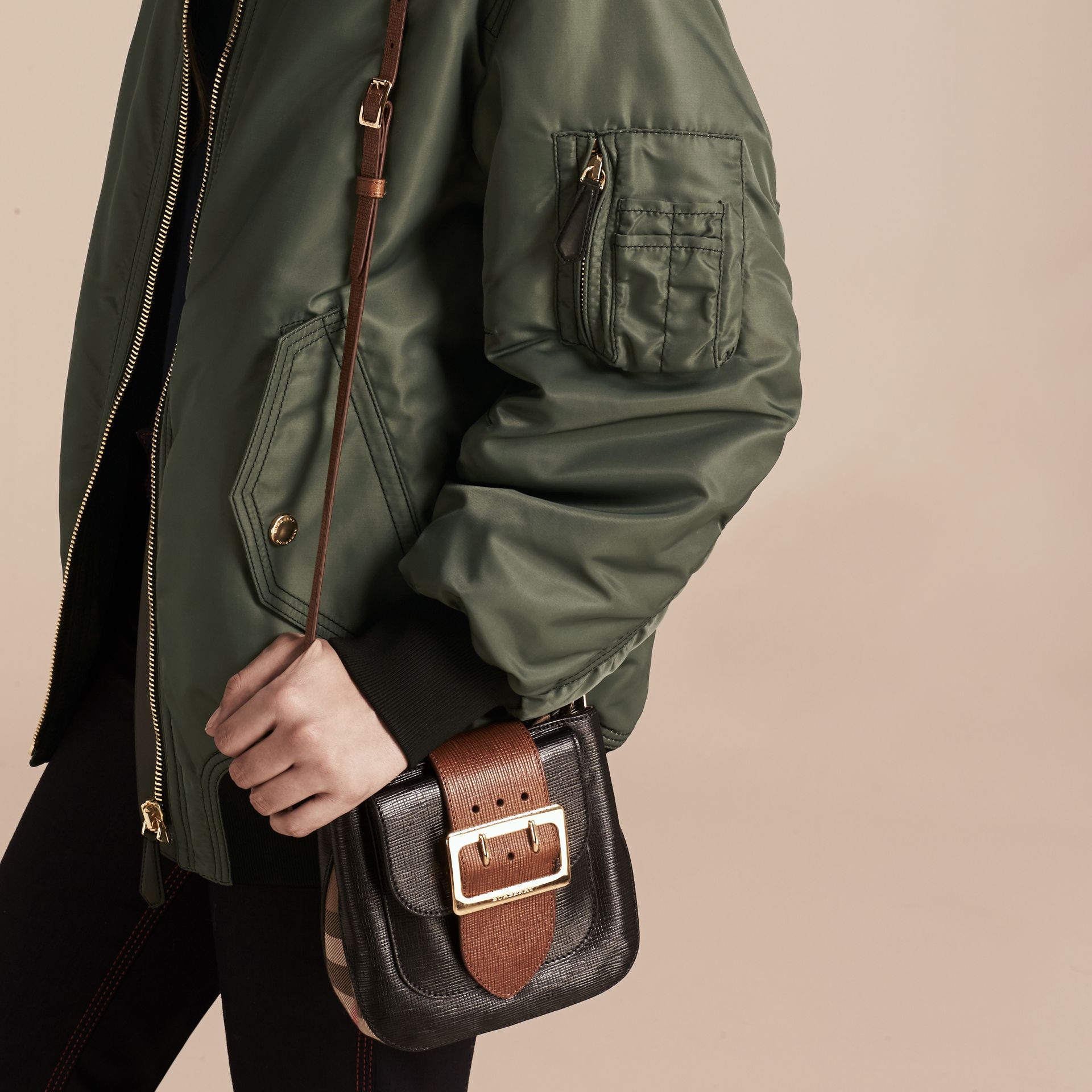 Khaki green Oversize Water-repellent Bomber Jacket - gallery image 5