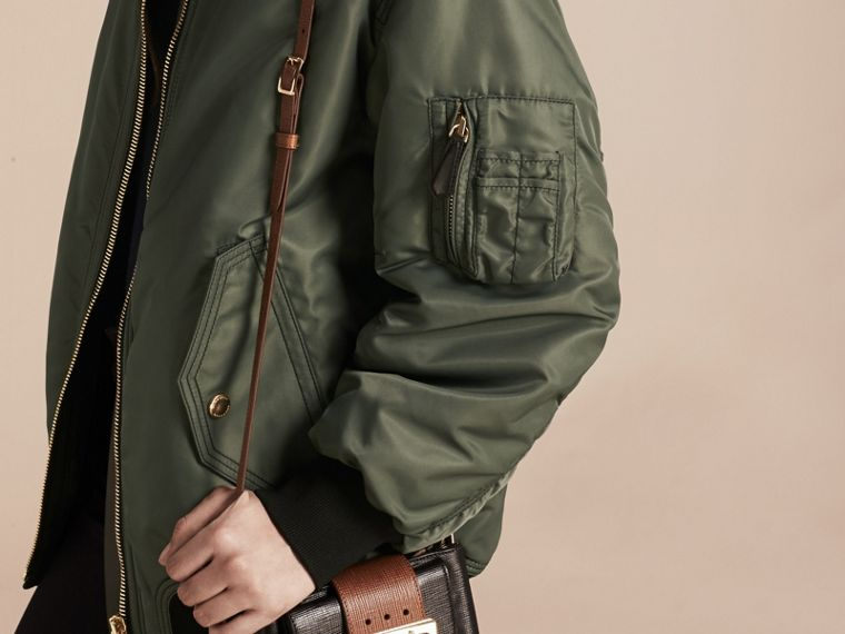 Khaki green Oversize Water-repellent Bomber Jacket - cell image 4