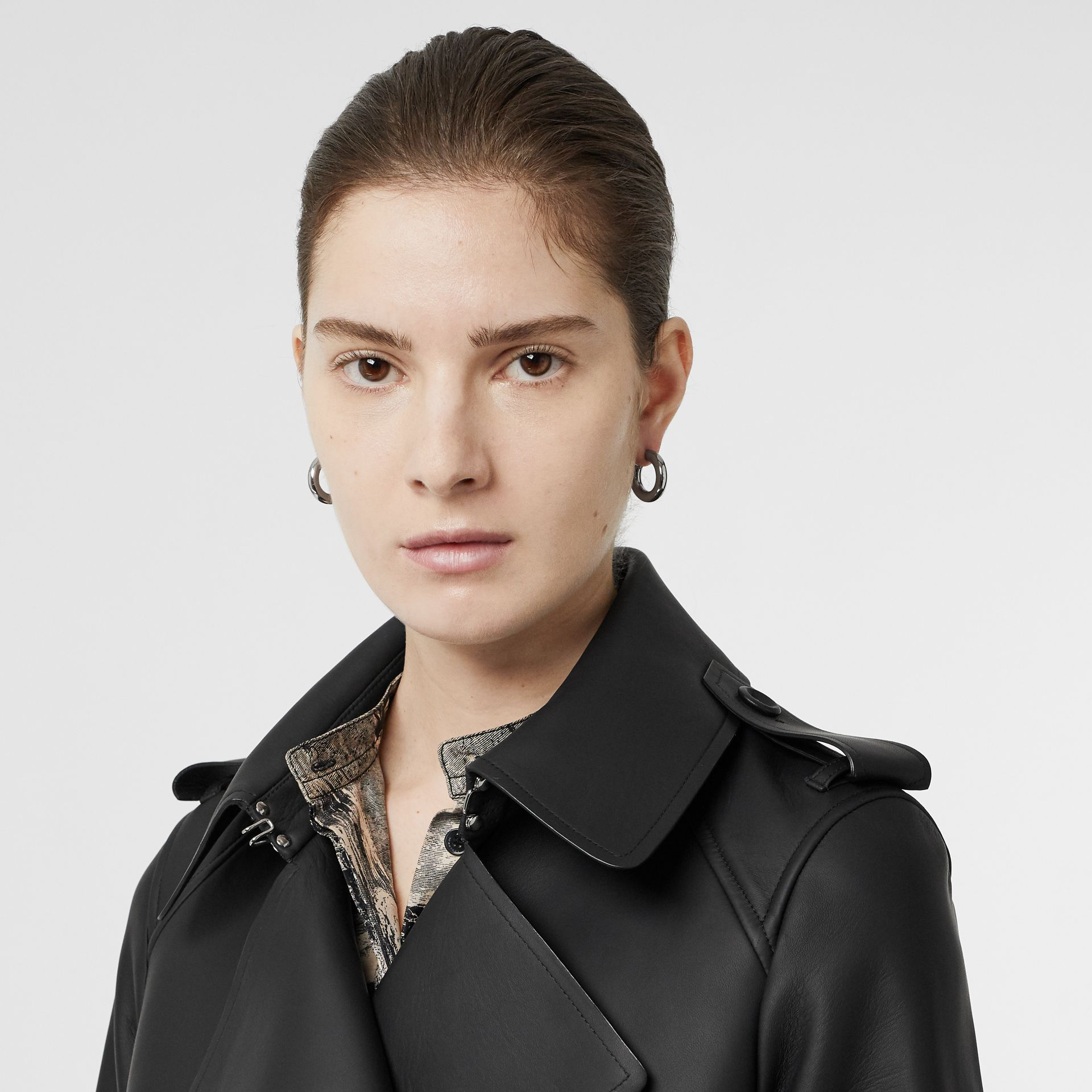Lambskin Wrap Trench Coat in Black - Women | Burberry - gallery image 1