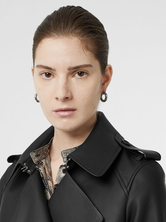 Lambskin Wrap Trench Coat in Black - Women | Burberry - cell image 1