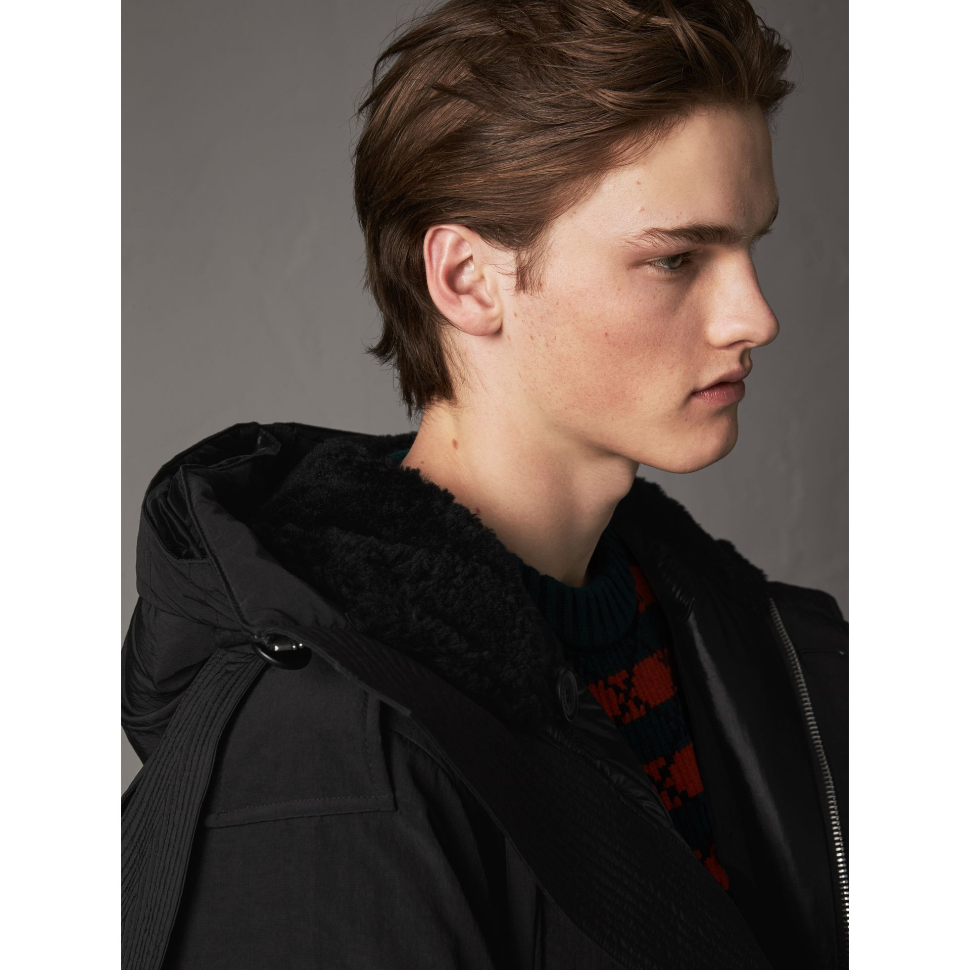 Raccoon Fur Trim Shearling Hood Down-filled Parka in Black - Men | Burberry United Kingdom - gallery image 5
