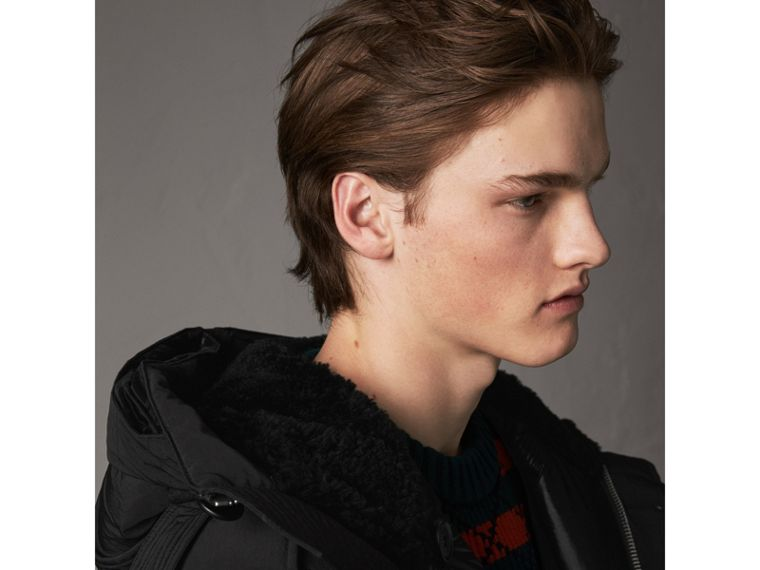 Raccoon Fur Trim Shearling Hood Down-filled Parka in Black - Men | Burberry United Kingdom - cell image 4