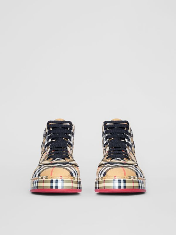 Vintage Check Cotton High-top Sneakers in Antique Yellow - Women | Burberry United Kingdom - cell image 3