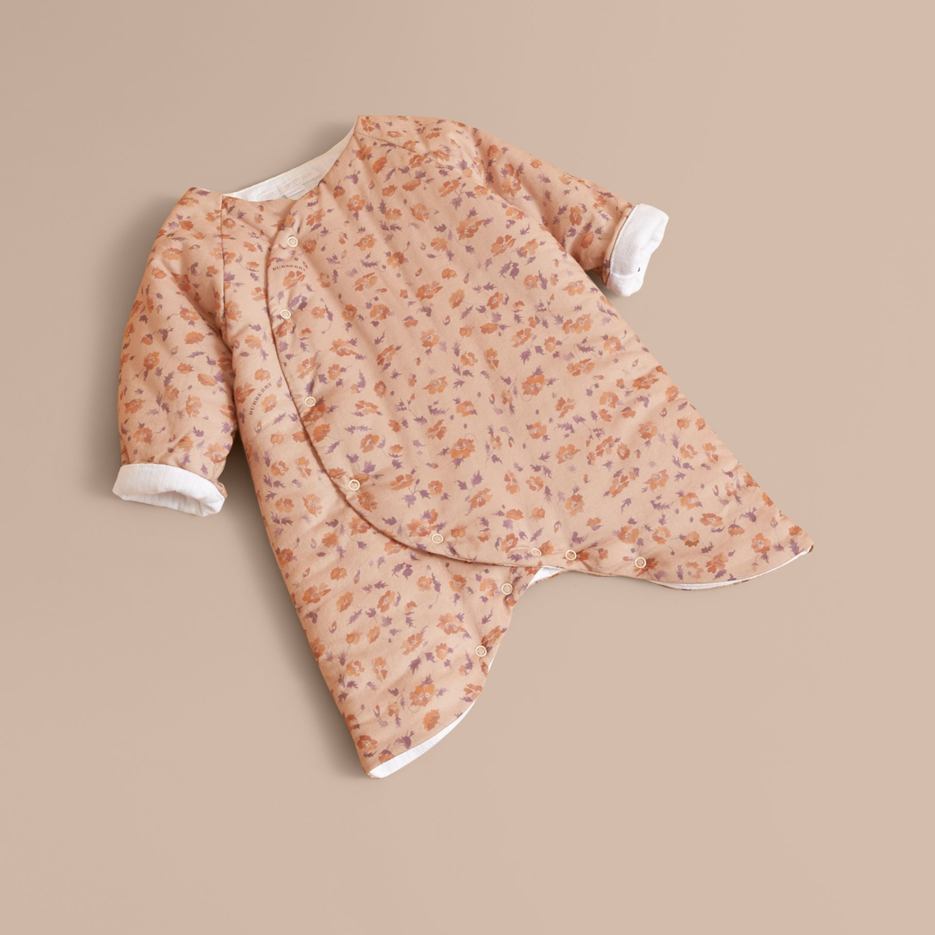 Floral Print Padded Cotton Playsuit in Light Copper | Burberry United Kingdom - gallery image 0