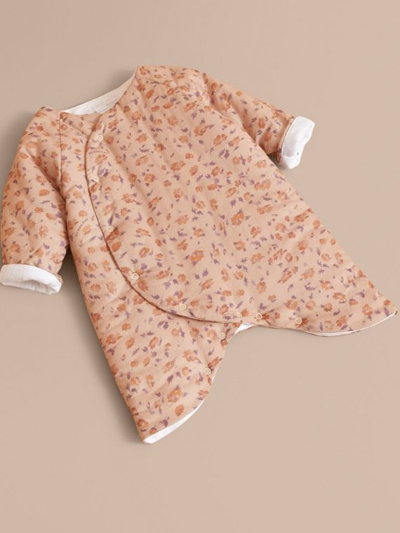 Floral Print Padded Cotton Playsuit in Light Copper