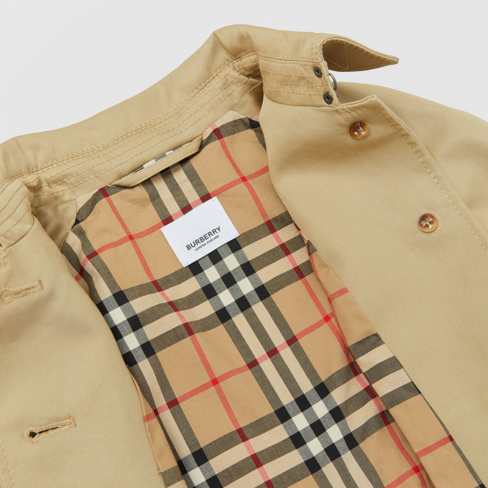 Detachable Hood Cotton Twill Trench Coat in Honey | Burberry - gallery image 5