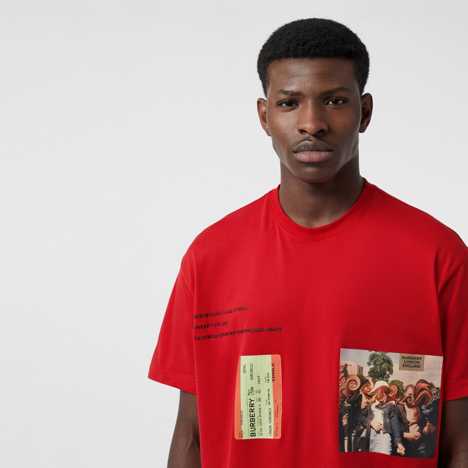 Montage Print Cotton Oversized T-shirt in Bright Red | Burberry - gallery image 1