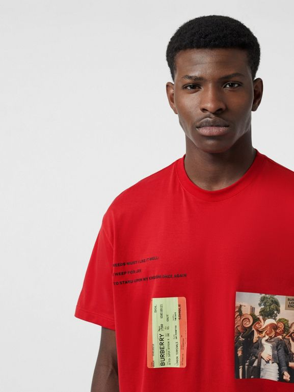 Montage Print Cotton Oversized T-shirt in Bright Red | Burberry - cell image 1
