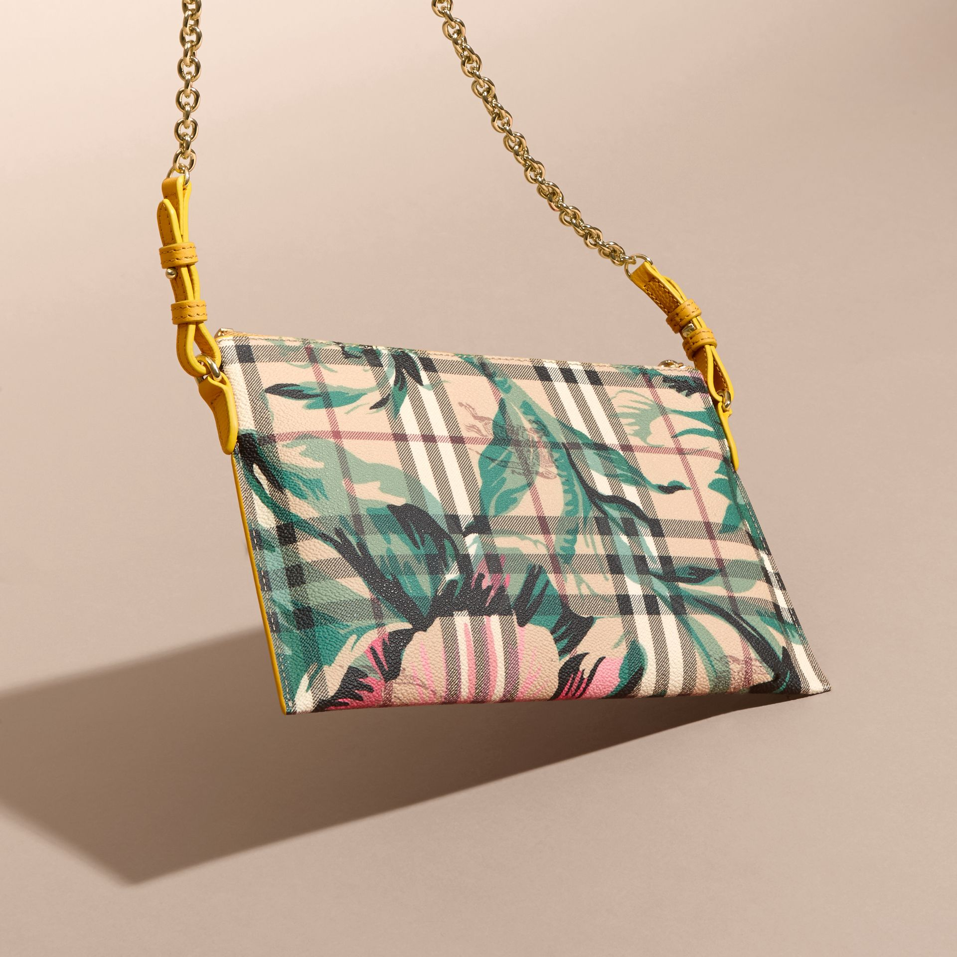 Larch yellow/emerald green Peony Rose Print Haymarket Check and Leather Clutch Bag - gallery image 5