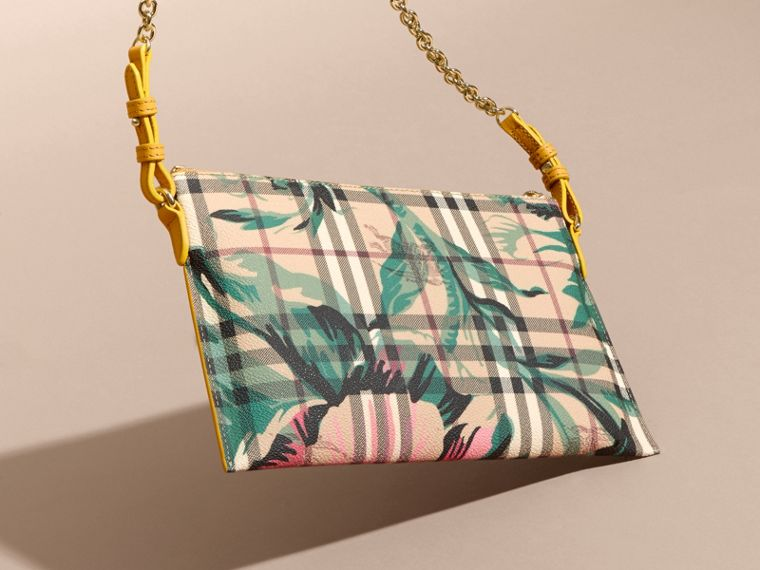 Peony Rose Print Haymarket Check and Leather Clutch Bag in Larch Yellow/emerald Green - cell image 4