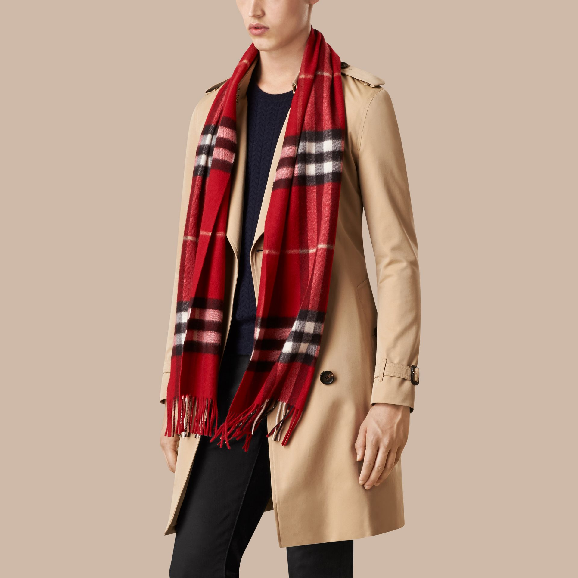 Parade red The Classic Cashmere Scarf in Check Parade Red - gallery image 4