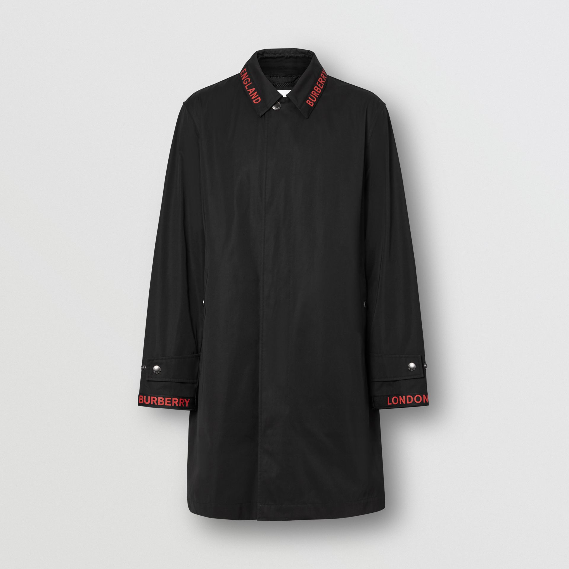 Logo Detail Technical Cotton Blend Car Coat in Black - Men | Burberry - gallery image 3