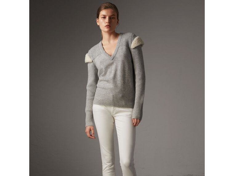 Shearling Trim Ribbed Wool Cashmere Sweater in Pale Grey Melange - Women | Burberry - cell image 4
