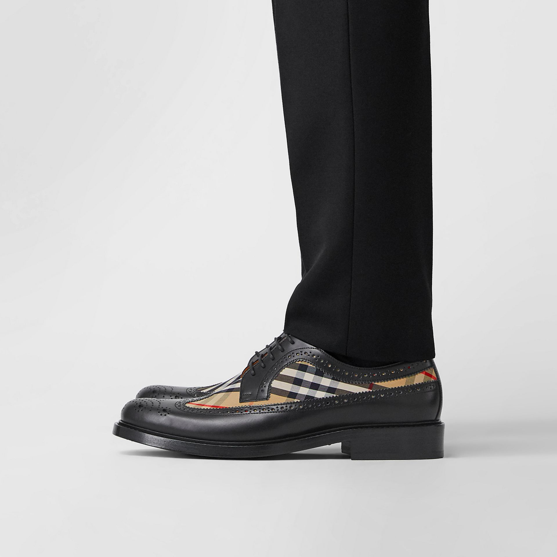 Brogue Detail Leather and Vintage Check Derby Shoes in Black/archive Beige - Men | Burberry Hong Kong S.A.R - gallery image 2