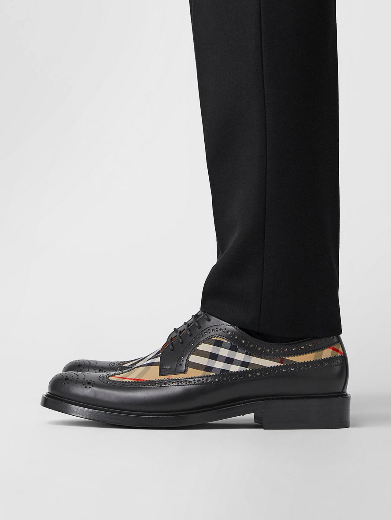 Brogue Detail Leather and Vintage Check Derby Shoes in Black/archive Beige