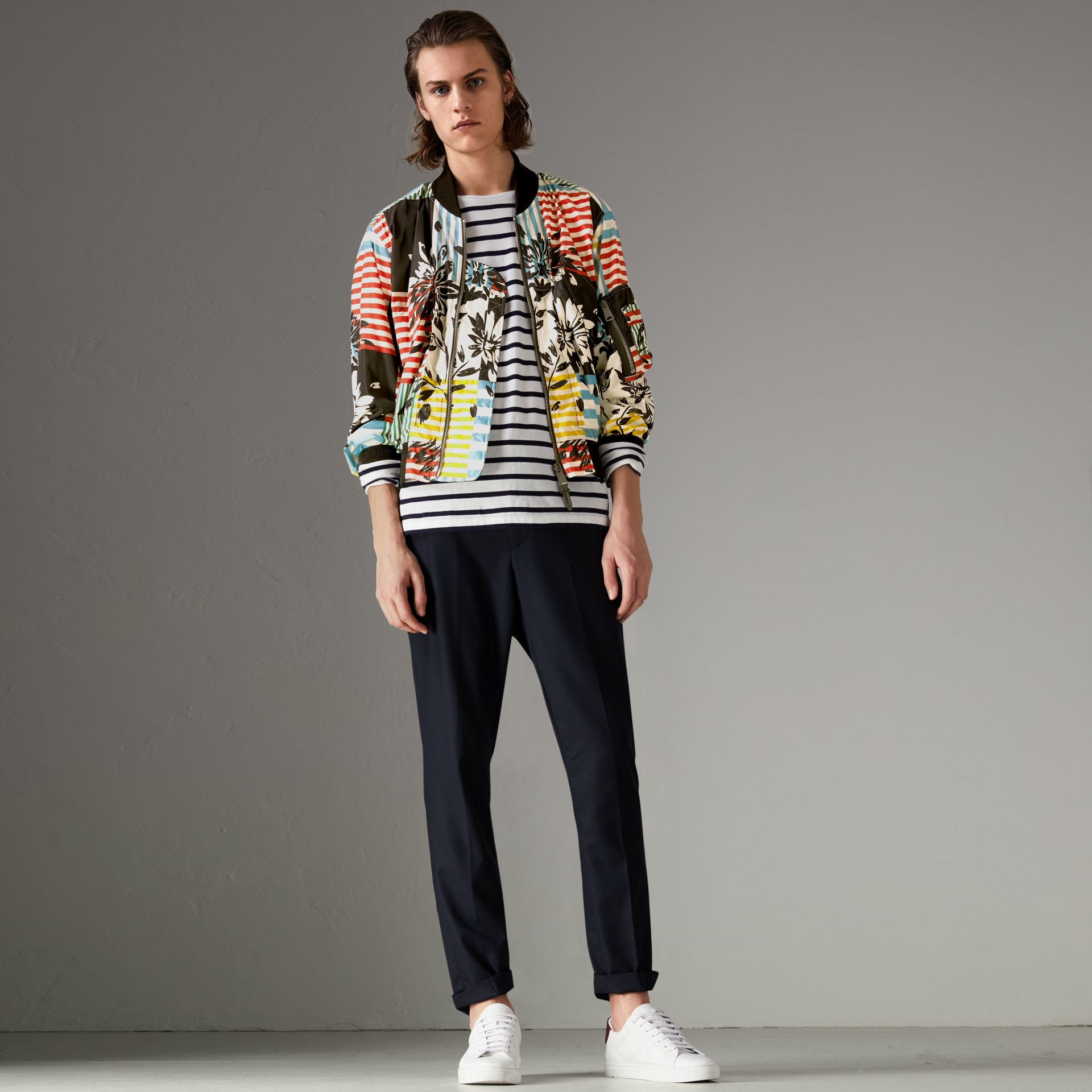Floral Stripe Print Bomber Jacket in Steel Blue - Men | Burberry - gallery image 0