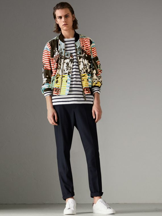 Floral Stripe Print Bomber Jacket in Steel Blue