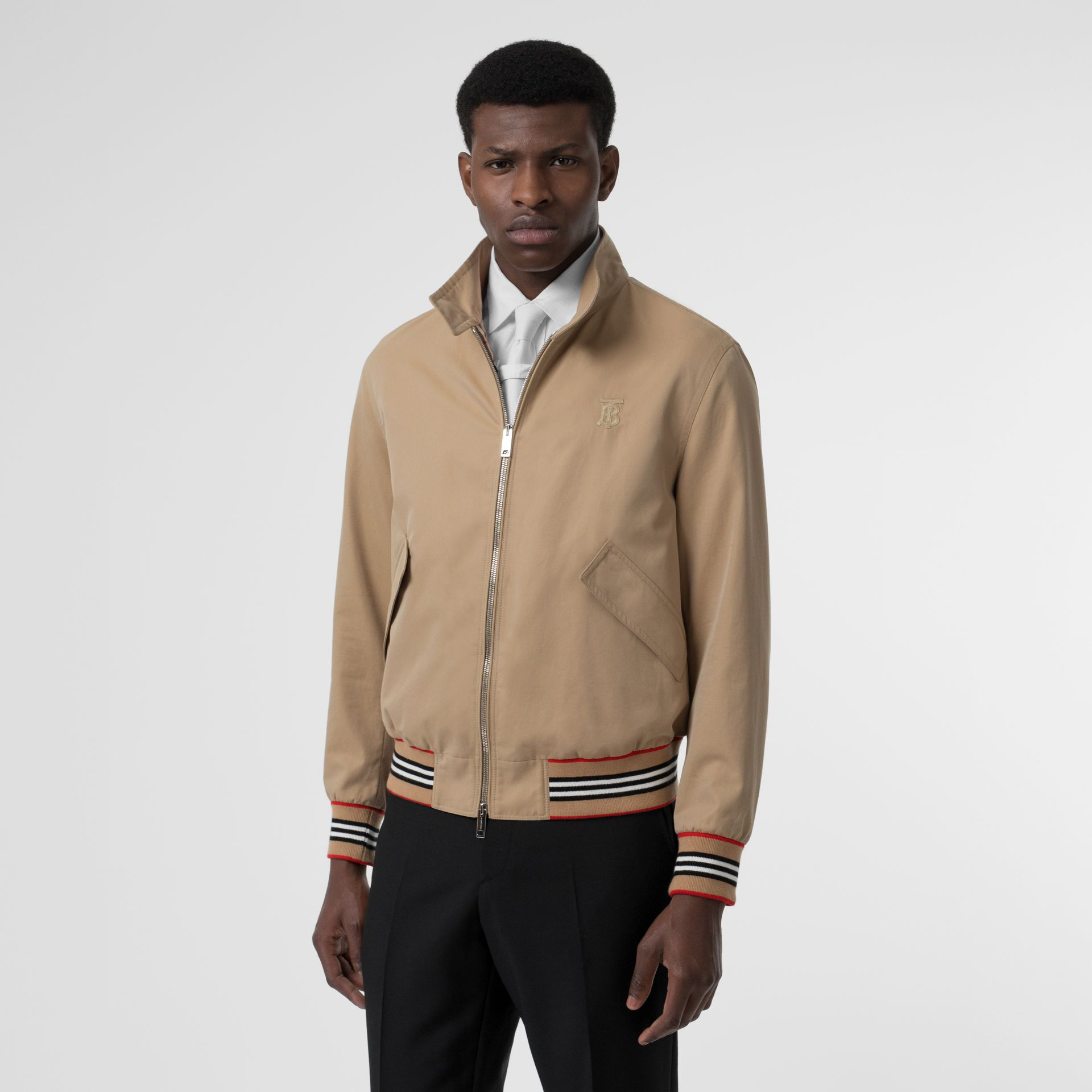Icon Stripe Detail Cotton Gabardine Harrington Jacket in Honey - Men | Burberry - gallery image 5