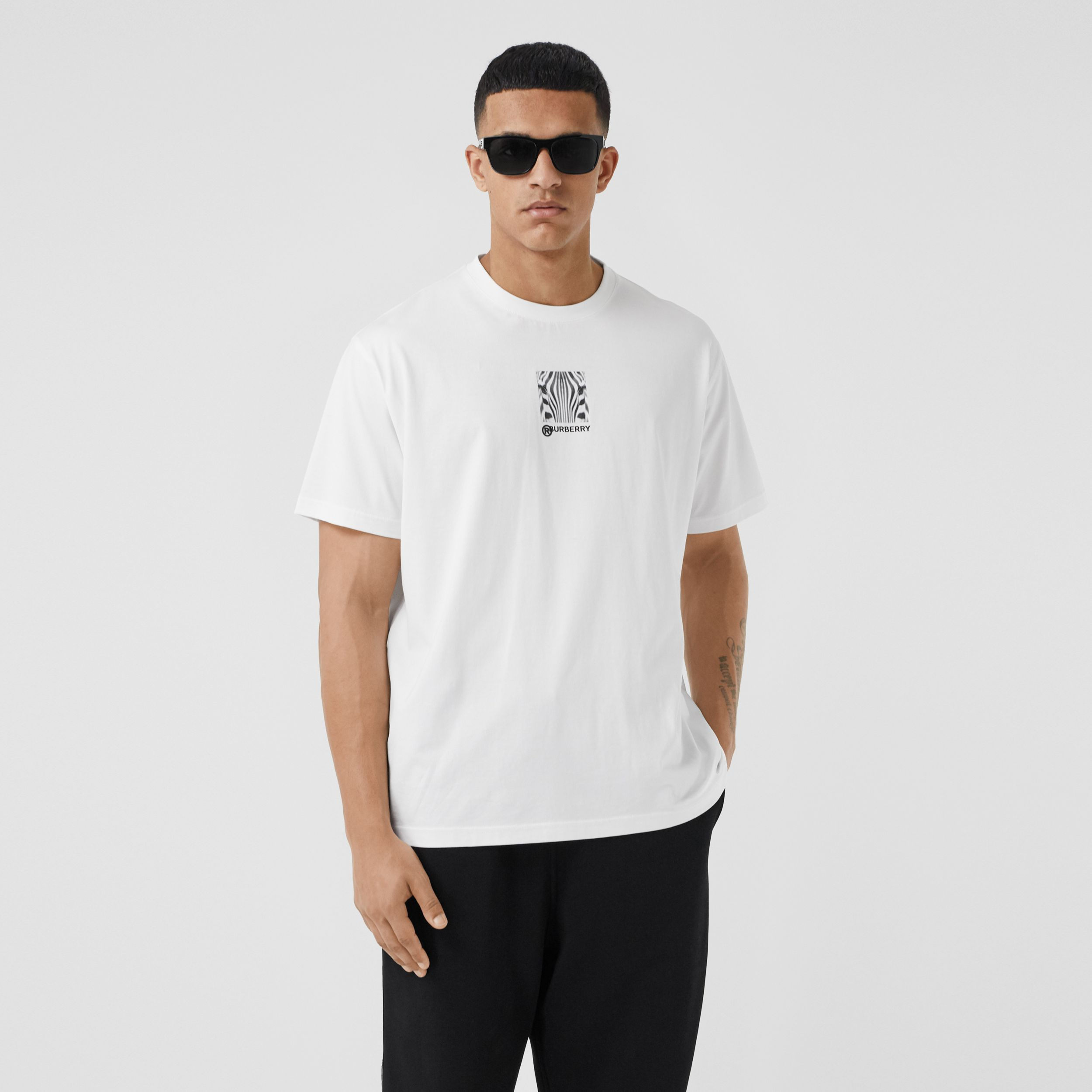 Montage Print Cotton Oversized T-shirt in White - Men | Burberry - 1